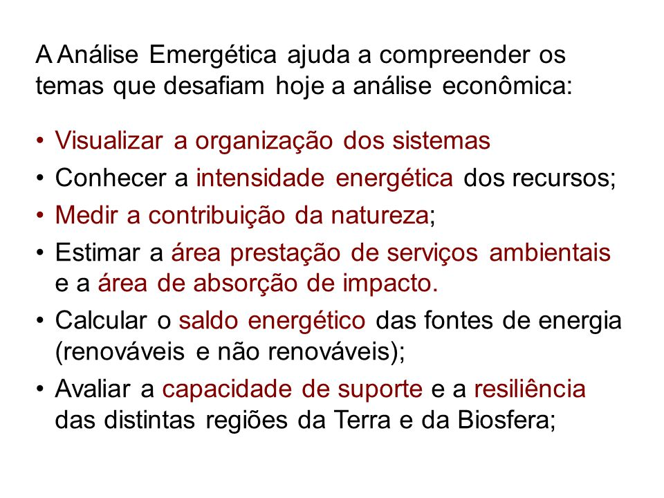 A Análise Emergética ajuda a compreender os temas que desafiam hoje a análise econômica: