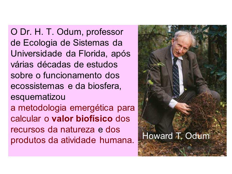 O Dr. H. T. Odum, professor de Ecologia de Sistemas da Universidade da Florida, após várias décadas de estudos sobre o funcionamento dos ecossistemas e da biosfera, esquematizou a metodologia emergética para calcular o valor biofísico dos recursos da natureza e dos produtos da atividade humana.