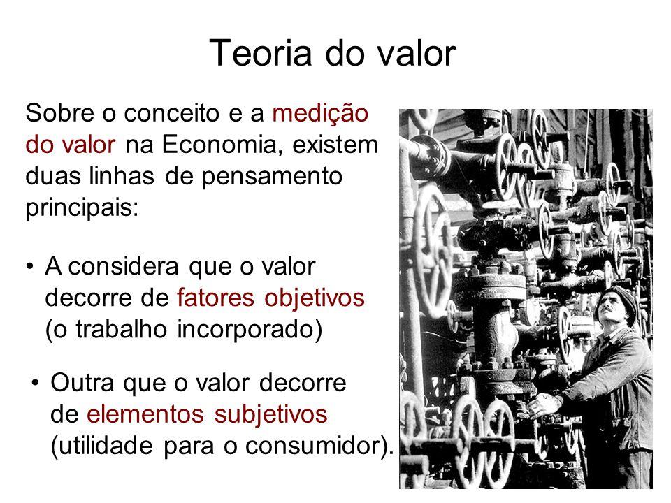Teoria do valor Sobre o conceito e a medição do valor na Economia, existem duas linhas de pensamento principais: