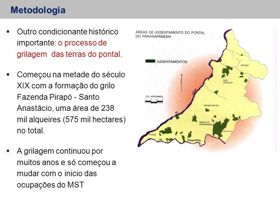 Metodologia Outro condicionante histórico importante: o processo de grilagem das terras do pontal.