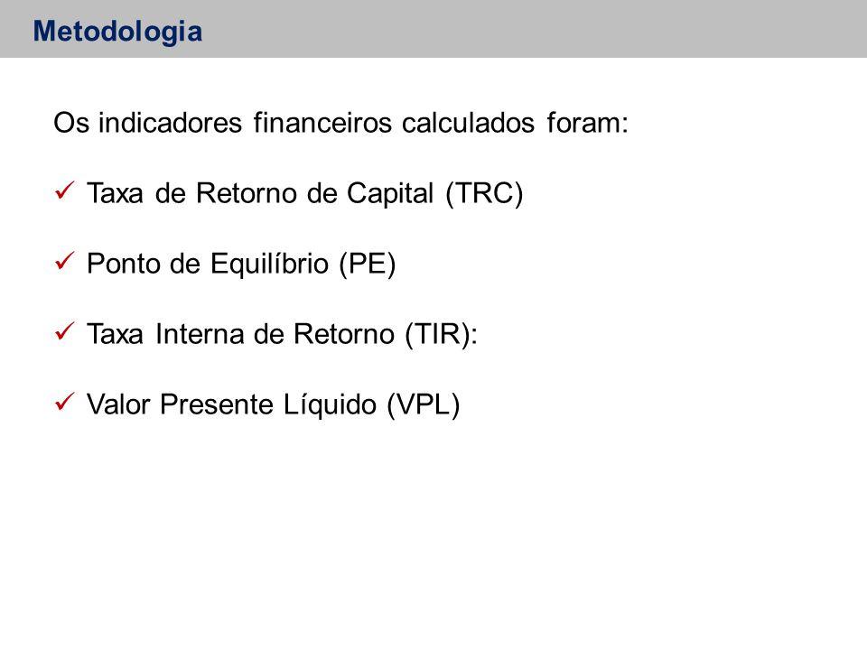 Os indicadores financeiros calculados foram: