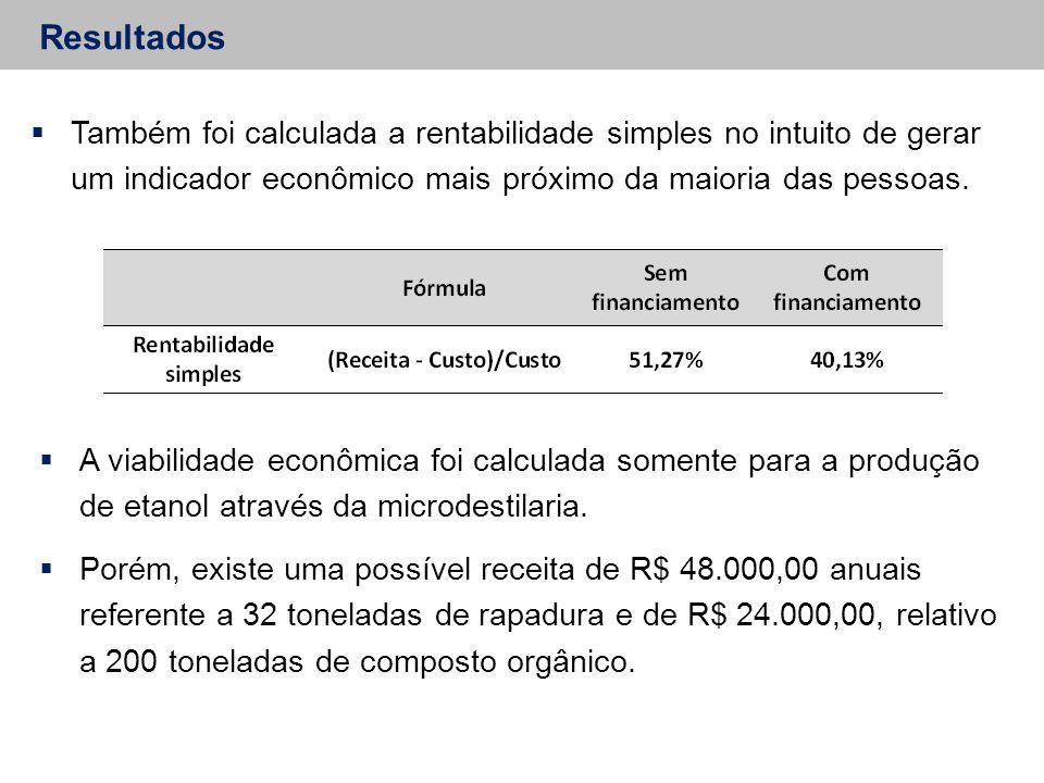 Resultados Também foi calculada a rentabilidade simples no intuito de gerar um indicador econômico mais próximo da maioria das pessoas.