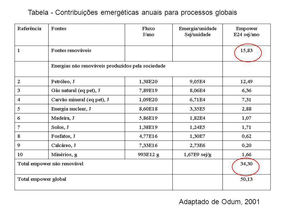 Tabela - Contribuições emergéticas anuais para processos globais