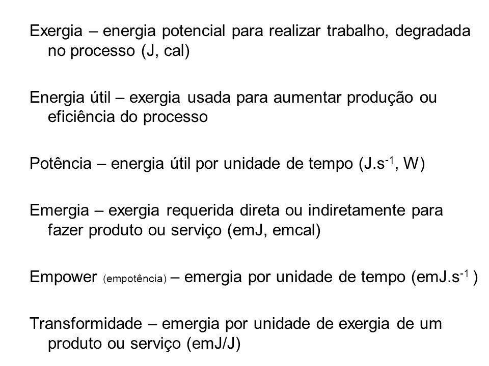 Exergia – energia potencial para realizar trabalho, degradada no processo (J, cal)