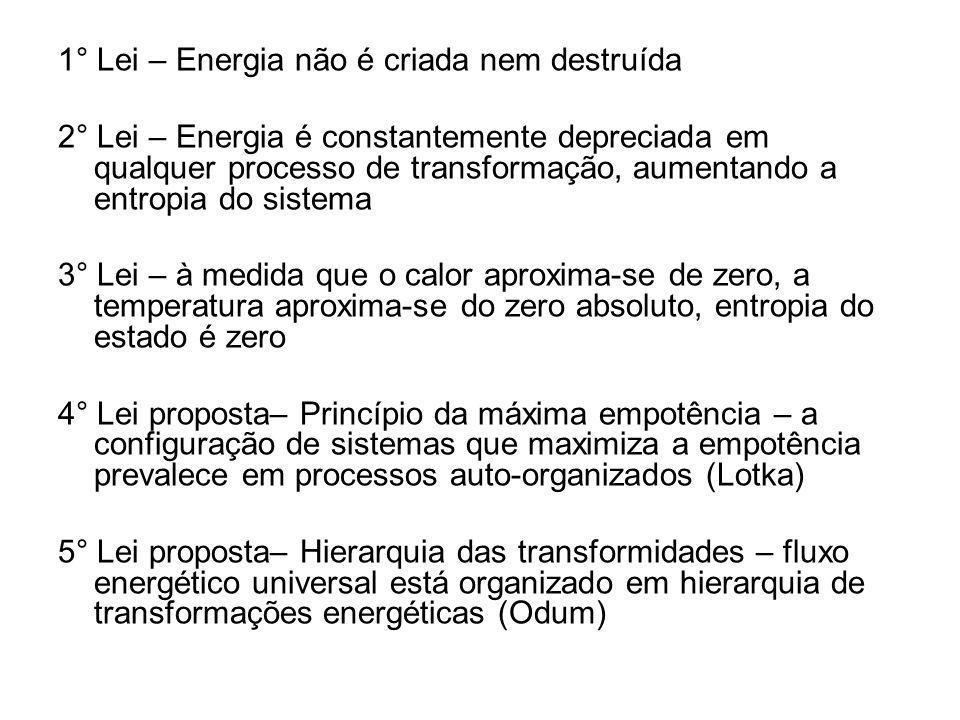1° Lei – Energia não é criada nem destruída