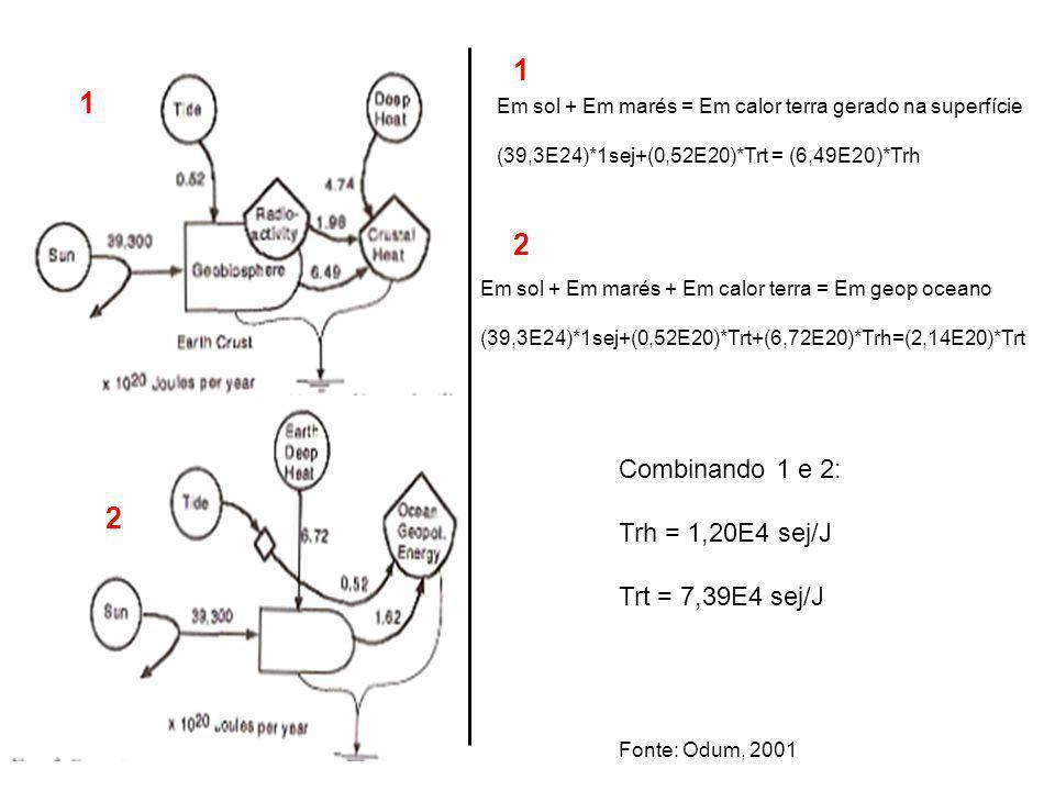 1 1 2 2 Combinando 1 e 2: Trh = 1,20E4 sej/J Trt = 7,39E4 sej/J