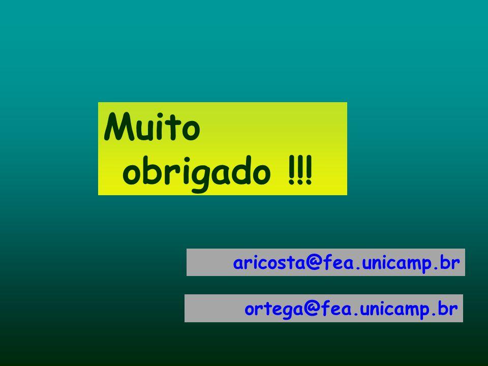 Muito obrigado !!! aricosta@fea.unicamp.br ortega@fea.unicamp.br 57