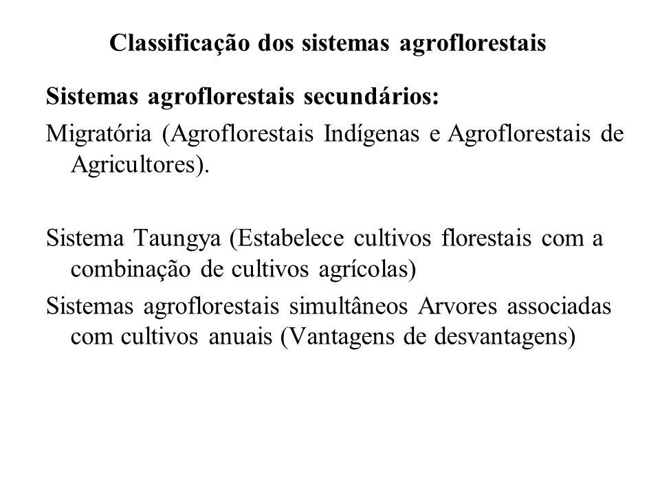 Classificação dos sistemas agroflorestais