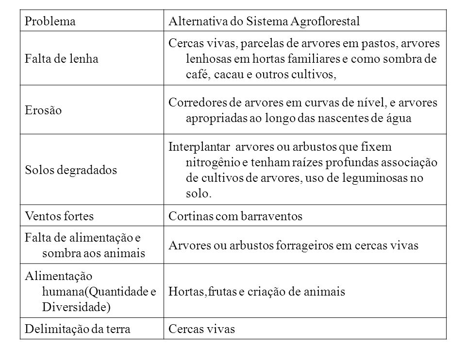 Problema Alternativa do Sistema Agroflorestal. Falta de lenha.