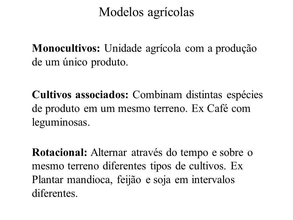 Modelos agrícolas Monocultivos: Unidade agrícola com a produção de um único produto.