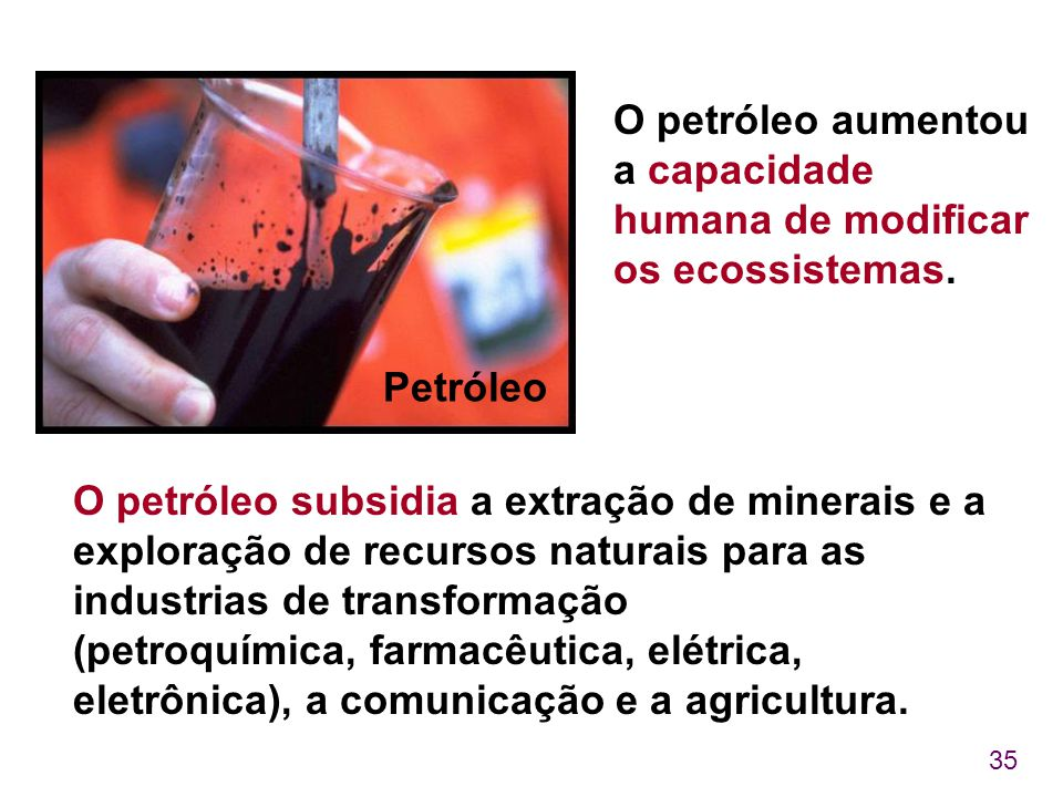 O petróleo aumentou a capacidade humana de modificar os ecossistemas.