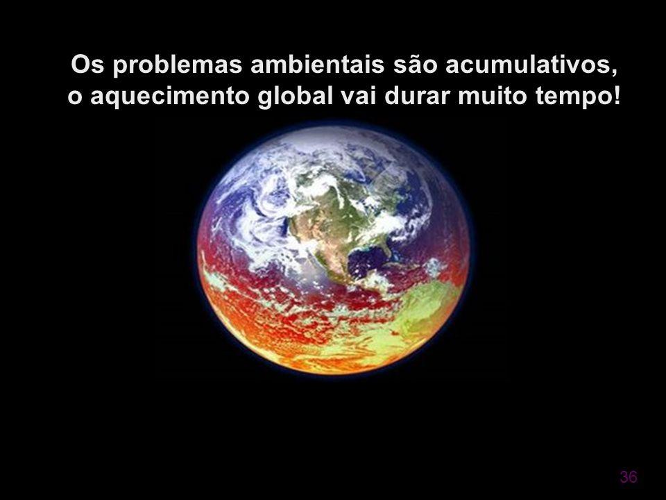 Os problemas ambientais são acumulativos, o aquecimento global vai durar muito tempo!