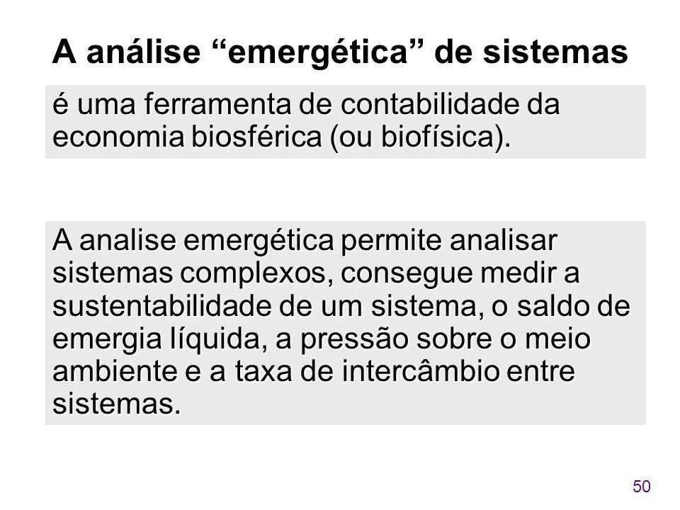 A análise emergética de sistemas