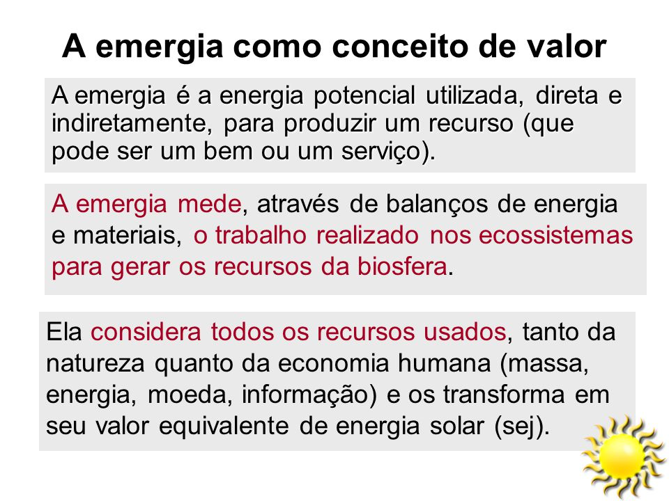 A emergia como conceito de valor