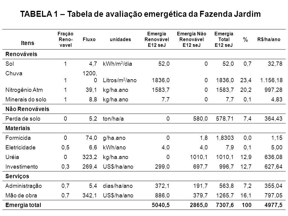 Emergia Renovável E12 seJ Emergia Não Renovável E12 seJ