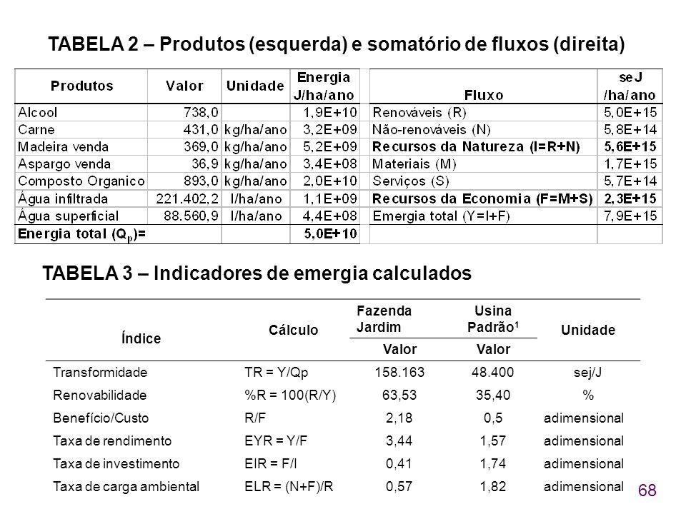 TABELA 2 – Produtos (esquerda) e somatório de fluxos (direita)