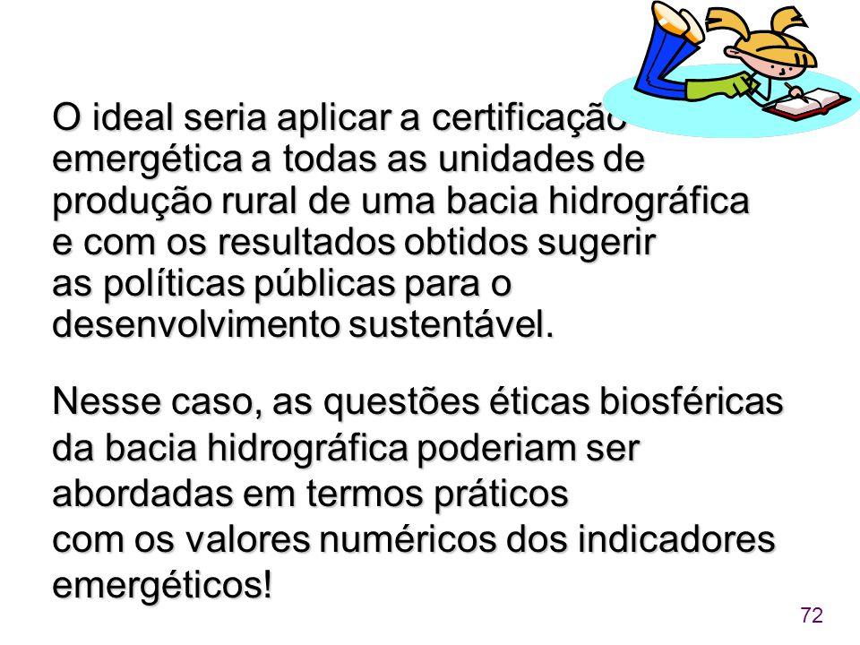 O ideal seria aplicar a certificação emergética a todas as unidades de produção rural de uma bacia hidrográfica e com os resultados obtidos sugerir as políticas públicas para o desenvolvimento sustentável.