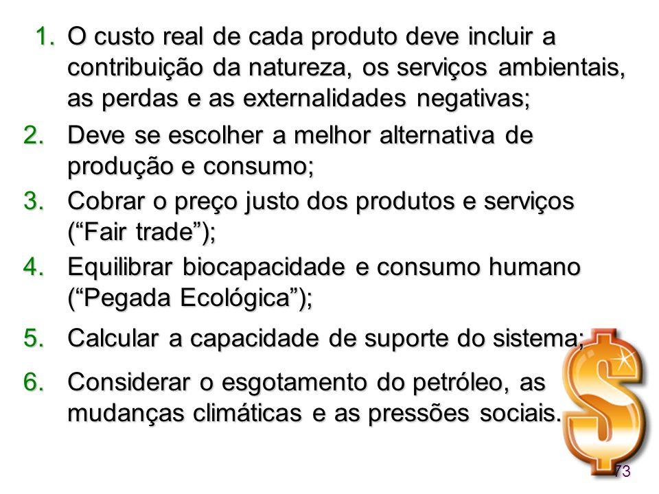 O custo real de cada produto deve incluir a contribuição da natureza, os serviços ambientais, as perdas e as externalidades negativas;