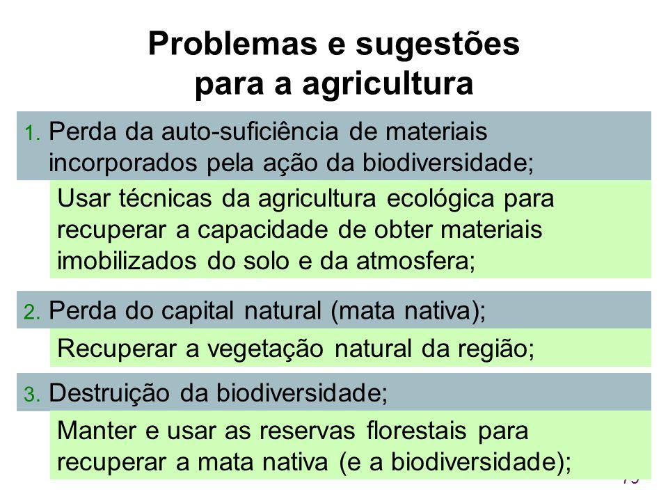 Problemas e sugestões para a agricultura