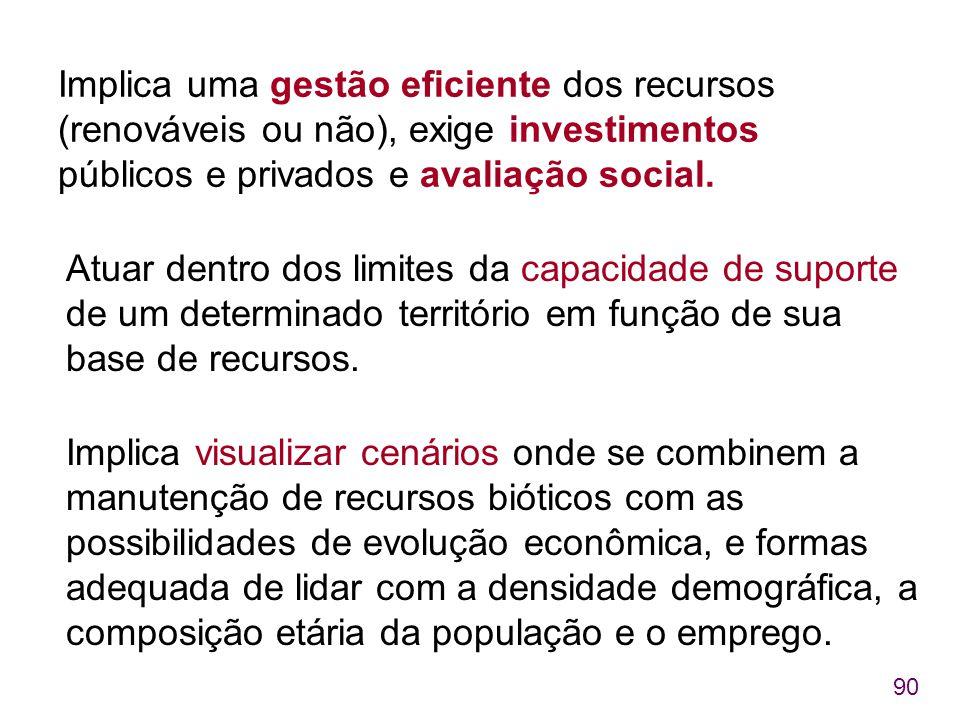 Implica uma gestão eficiente dos recursos (renováveis ou não), exige investimentos públicos e privados e avaliação social.