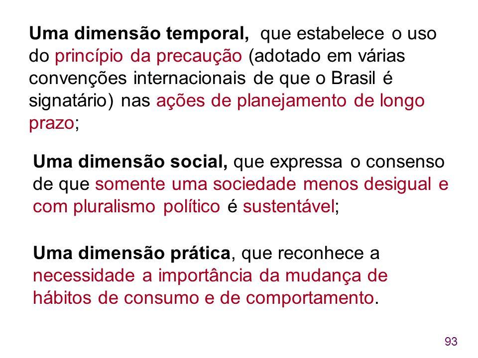 Uma dimensão temporal, que estabelece o uso do princípio da precaução (adotado em várias convenções internacionais de que o Brasil é signatário) nas ações de planejamento de longo prazo;