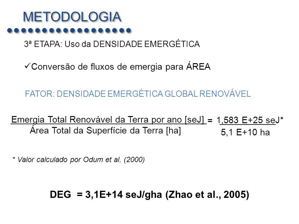 METODOLOGIA DEG = 3,1E+14 seJ/gha (Zhao et al., 2005)