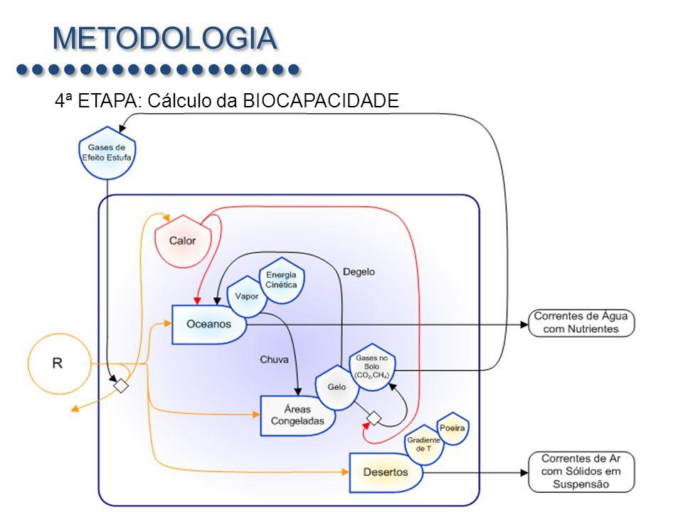 METODOLOGIA 4ª ETAPA: Cálculo da BIOCAPACIDADE