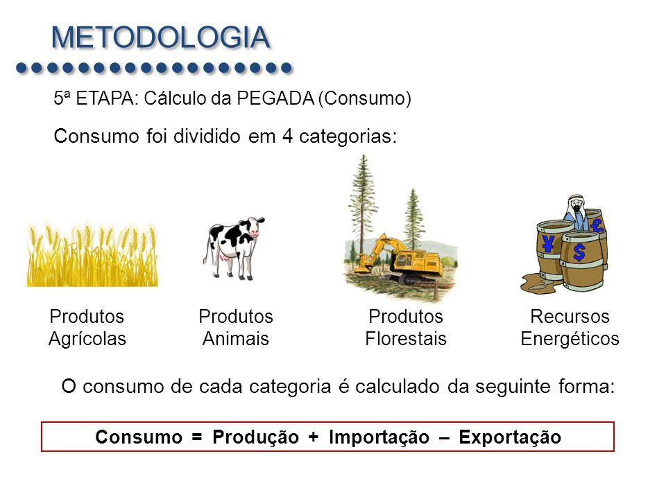 METODOLOGIA Consumo foi dividido em 4 categorias: