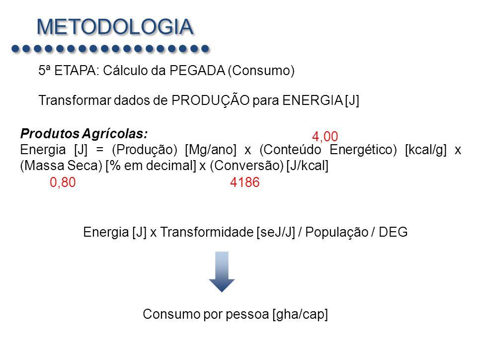 METODOLOGIA 5ª ETAPA: Cálculo da PEGADA (Consumo)