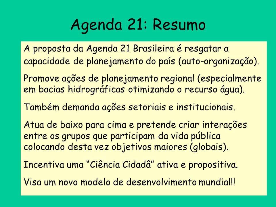 Agenda 21: Resumo A proposta da Agenda 21 Brasileira é resgatar a capacidade de planejamento do país (auto-organização).