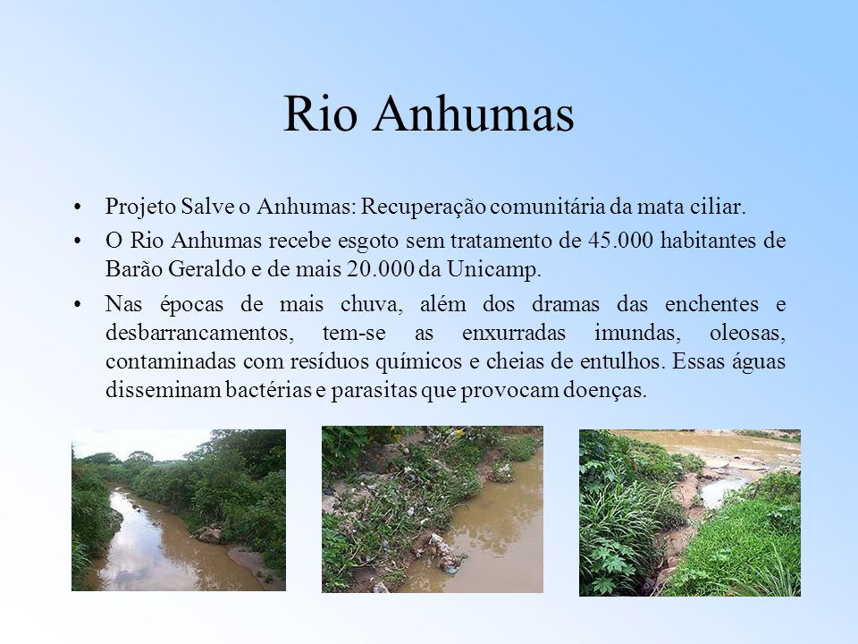 Rio Anhumas Projeto Salve o Anhumas: Recuperação comunitária da mata ciliar.