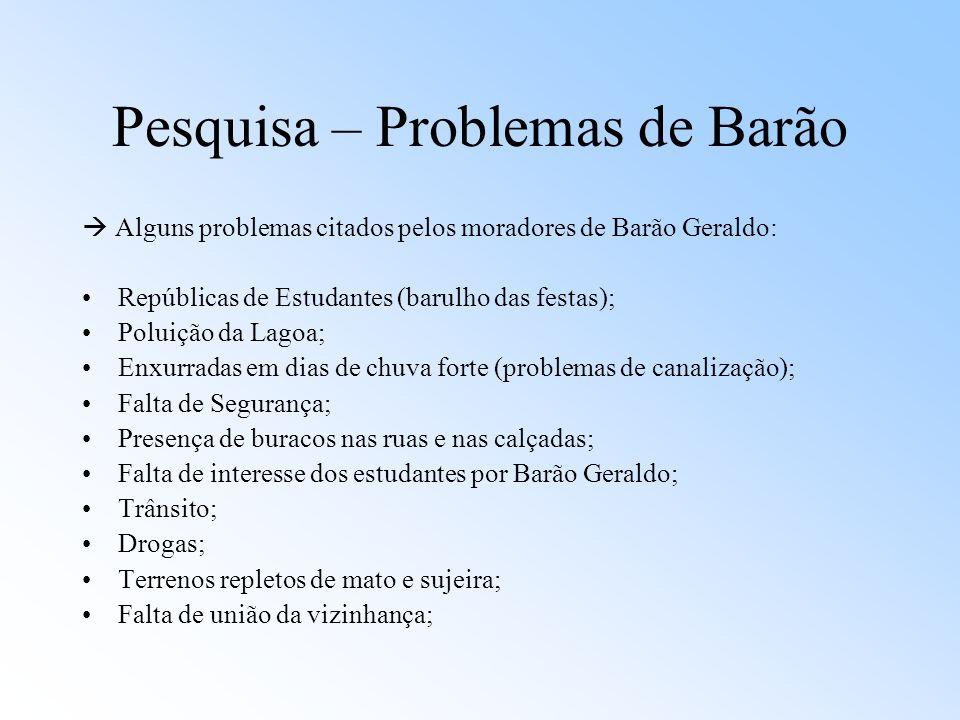 Pesquisa – Problemas de Barão