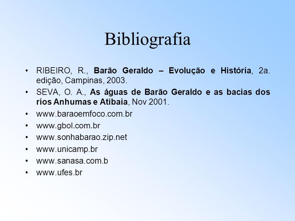 Bibliografia RIBEIRO, R., Barão Geraldo – Evolução e História, 2a. edição, Campinas, 2003.