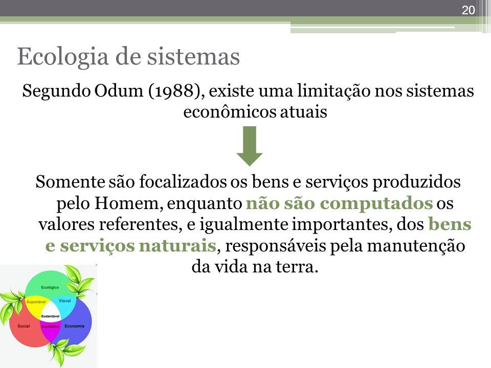 Ecologia de sistemas Segundo Odum (1988), existe uma limitação nos sistemas econômicos atuais.