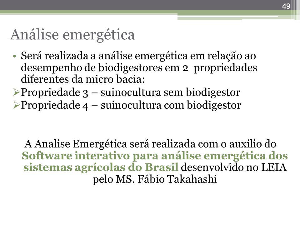 Análise emergética Será realizada a análise emergética em relação ao desempenho de biodigestores em 2 propriedades diferentes da micro bacia: