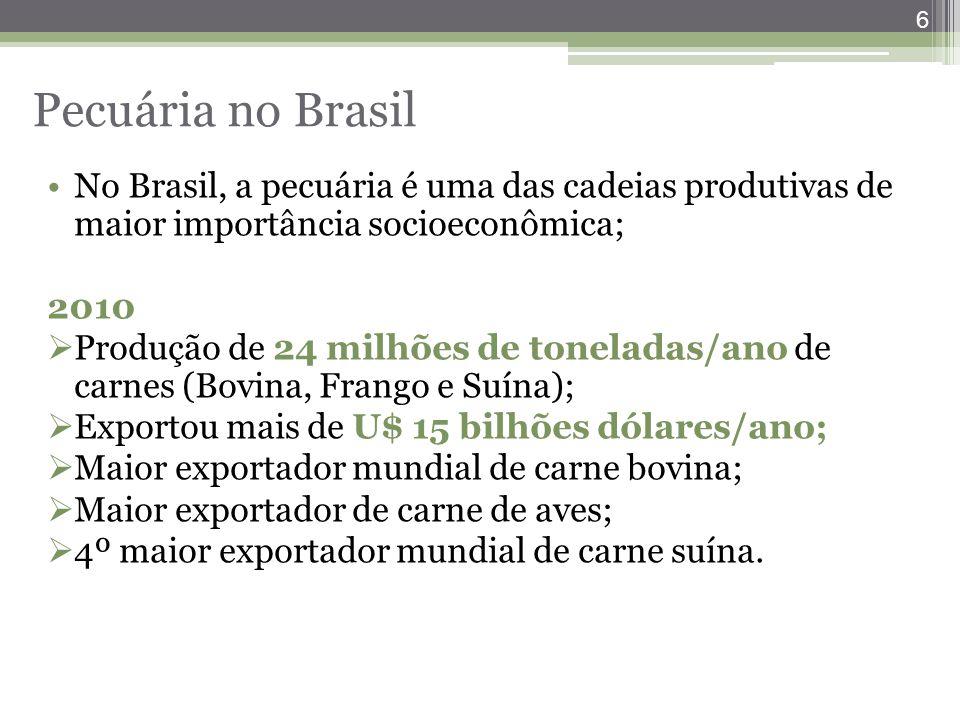 Pecuária no Brasil No Brasil, a pecuária é uma das cadeias produtivas de maior importância socioeconômica;