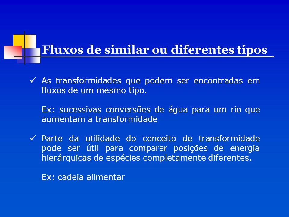 Fluxos de similar ou diferentes tipos
