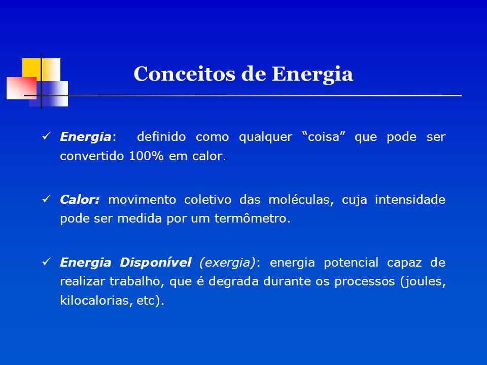 Conceitos de Energia Energia: definido como qualquer coisa que pode ser convertido 100% em calor.