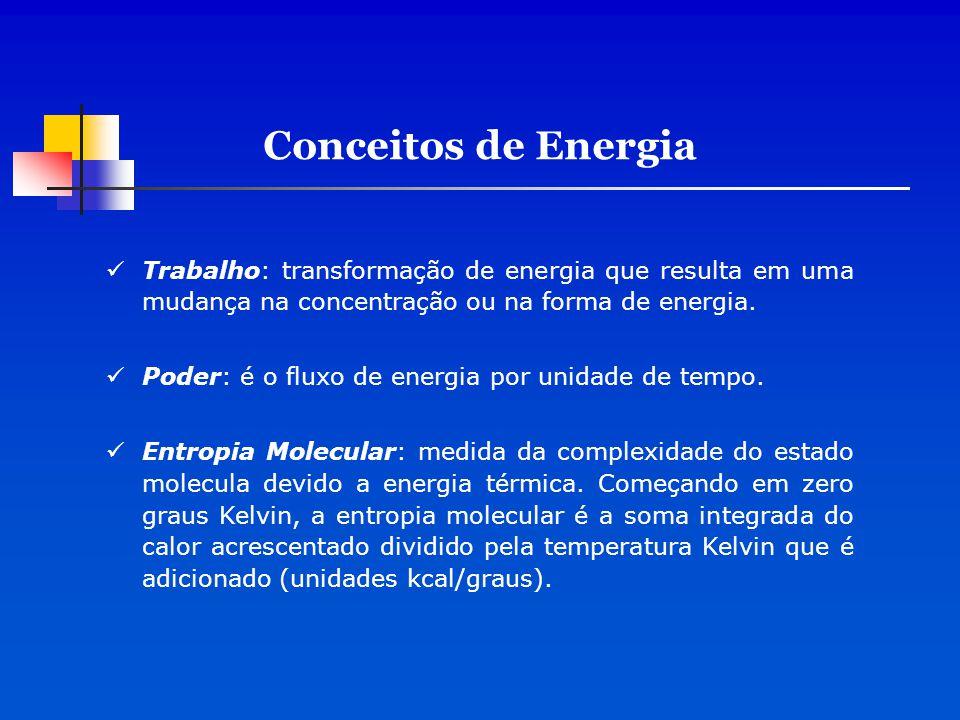 Conceitos de Energia Trabalho: transformação de energia que resulta em uma mudança na concentração ou na forma de energia.