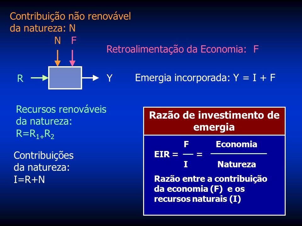 %R=100(R/Y) Contribuição não renovável da natureza: N R N Y F