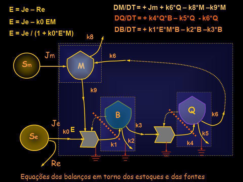Jm Sm M Q B Je Se Re DM/DT = + Jm + k6*Q – k8*M –k9*M E = Je – Re