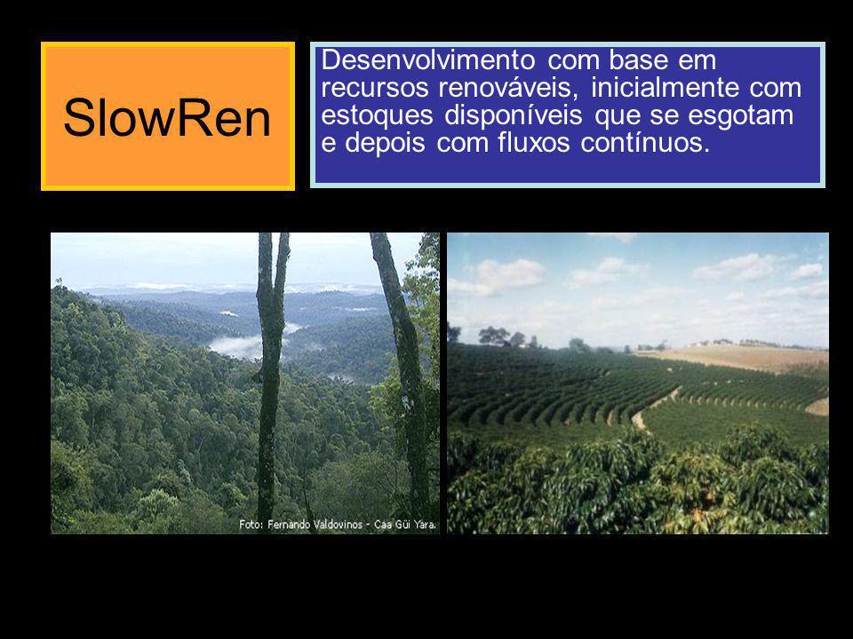 SlowRen Desenvolvimento com base em recursos renováveis, inicialmente com estoques disponíveis que se esgotam e depois com fluxos contínuos.