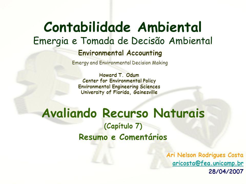 Contabilidade Ambiental Emergia e Tomada de Decisão Ambiental