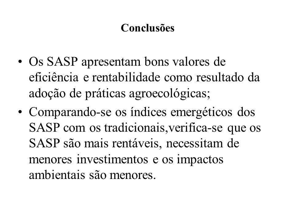 Conclusões Os SASP apresentam bons valores de eficiência e rentabilidade como resultado da adoção de práticas agroecológicas;