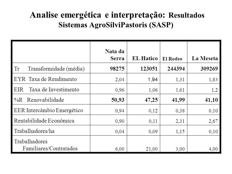 Analise emergética e interpretação: Resultados Sistemas AgroSilviPastoris (SASP)