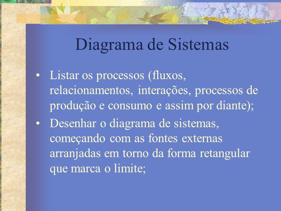 Diagrama de Sistemas Listar os processos (fluxos, relacionamentos, interações, processos de produção e consumo e assim por diante);