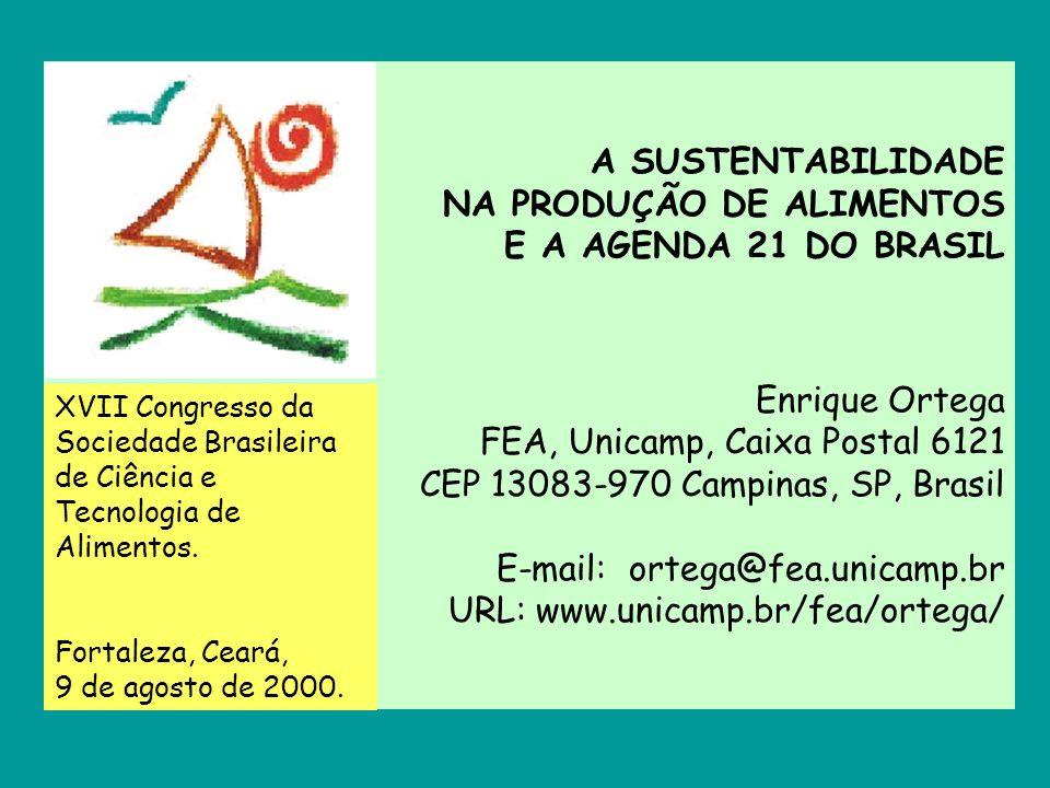 A SUSTENTABILIDADE NA PRODUÇÃO DE ALIMENTOS E A AGENDA 21 DO BRASIL Enrique Ortega FEA, Unicamp, Caixa Postal 6121 CEP 13083-970 Campinas, SP, Brasil E-mail: ortega@fea.unicamp.br URL: www.unicamp.br/fea/ortega/
