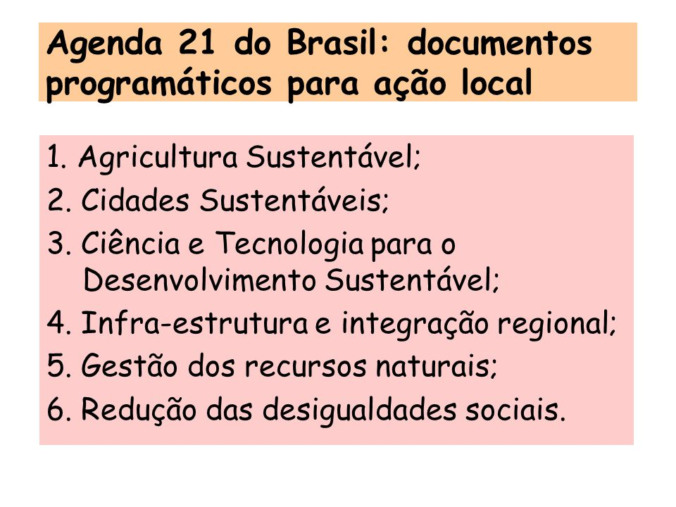 Agenda 21 do Brasil: documentos programáticos para ação local