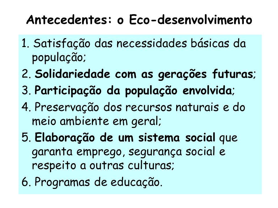Antecedentes: o Eco-desenvolvimento