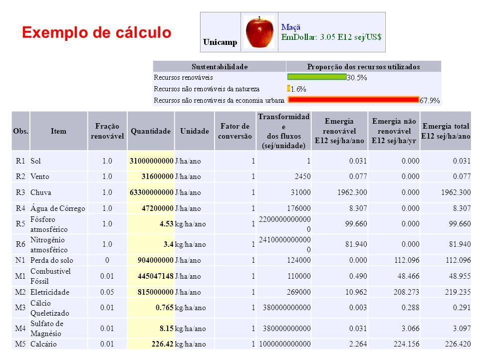 Exemplo de cálculo Obs. Item Fração renovável Quantidade Unidade